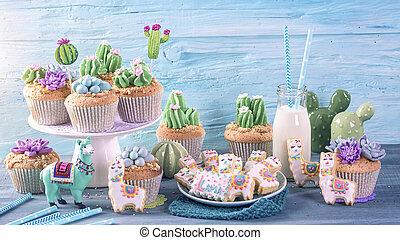 Cactus and llama sweets