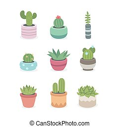 Cactus and succulent plants in pots. Illustration set of...