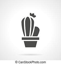 Cactus black glyph style vector icon - Monochrome silhouette...
