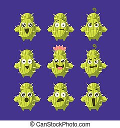 Cactus Cartoon Character Set