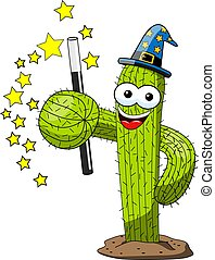 cactus cartoon funny character magician sorcerer isolated