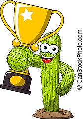Cactus cartoon funny character vector winner cup trophy isolated