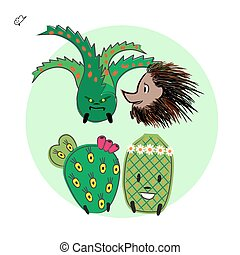 cactus character cartoon collection