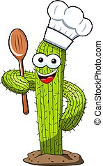 cactus character mascot cartoon cook wooden spoon vector isolated