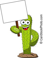 cactus character mascot cartoon holding blank banner vector...