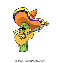 cactus character playing guitar