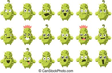 Cactus characters big set, funny cacti with different emotions vector illustration