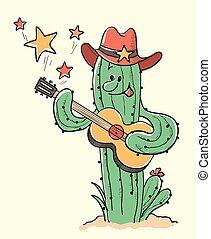 Cactus christmas playing the guitar.Vector hand drawn illustration