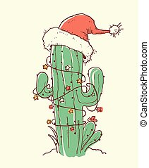 Cactus christmas red Santa hat .Vector color hand drawn illustration
