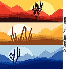 Cactus desert landscape vector background set with sunset