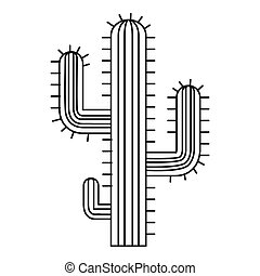 Cactus, desert plant icon, outline style