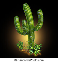 Cactus desert plant on black background representing a hot ...