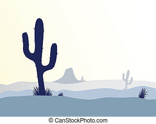 Scene with desert cactus plant, weeds and mountains. Sunset in desert in retro style. Vector Illustration.