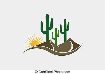 Sunny Desert scene with cactus and stone