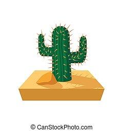 cactus, dessin animé, icône