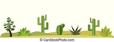 cactus, fleurs, herbe, landscape-, buissons, nature