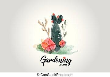 Cactus floral watercolor logo