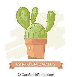 Cactus flower, cactus isolated.