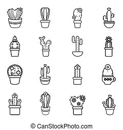 Cactus flower icons set, outline style