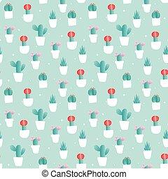 Cactus flower vases seamless pattern