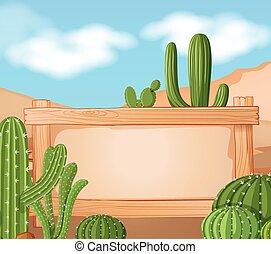 cactus, frontière, fond, gabarit