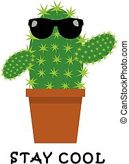 cactus funny cool - vector funny cactus