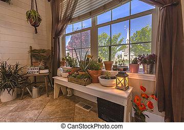 Cactus garten in the entry of Utah home