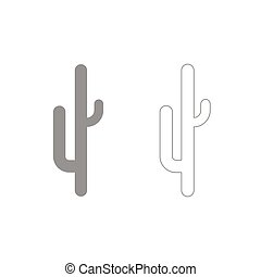 Cactus grey set icon .