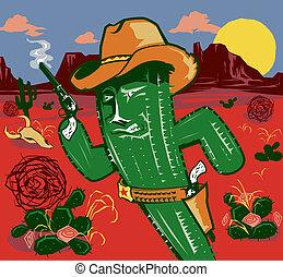 A rough and tumble cowboy cactus character