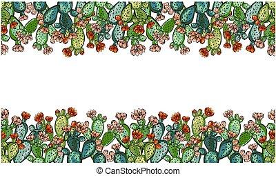 Cactus hand drawn vector seamless pattern. Creative texture ...