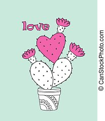 cactus-heart in the flower pot with love - Valentine card...