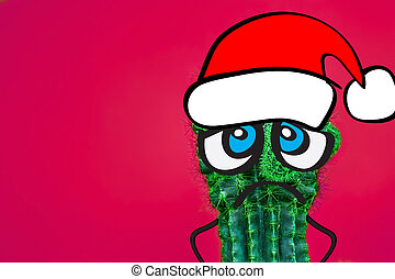 Cactus hipster man with santa hat. Tropical Christmas concept. Minimal fun art