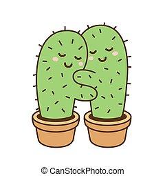 cactus hug illustration - Cactus hug vector drawing. Cute ...