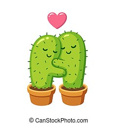 cactus hug illustration - Cactus hug vector drawing. Cute...