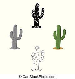 Cactus icon cartoon, black. Singe western icon from the wild...