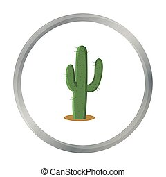 Cactus icon cartoon. Singe western icon from the wild west ...