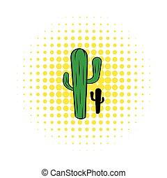 Cactus icon in comics style