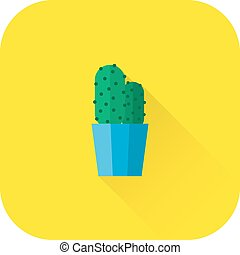 Cactus icon. Vector. Flat design with long shadow.