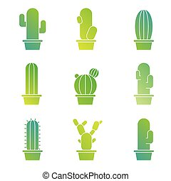 Cactus icons illustration vector set