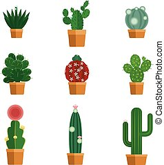 Cactus icons in flat style