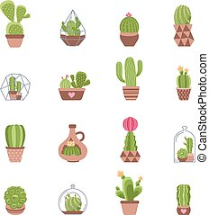 Different types of cactus with flowers icons set isolated vector illustration