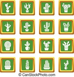 Cactus icons set green square vector - Cactus icons set ...