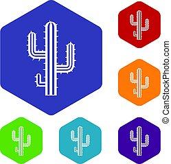 Cactus icons set hexagon