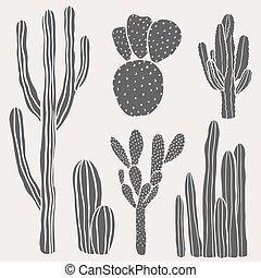 cactus, illustratie, vector, woestijn