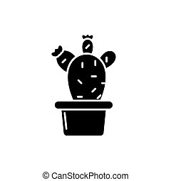 Cactus in a pot black icon, vector sign on isolated background. Cactus in a pot concept symbol, illustration