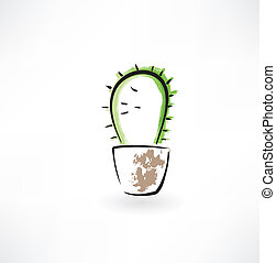 cactus in a pot grunge icon