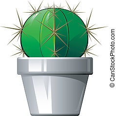 Cactus in a pot. Vector illustration over white. EPS 8, AI, ...