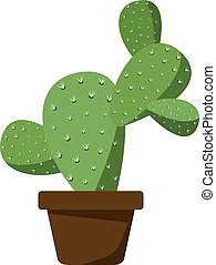 Cactus in brown pot - Small green cactus in a brown...