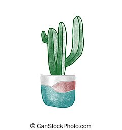 Cactus in clay pot hand drawn vector illustration. Home ...