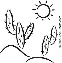 cactus in desert  - vector cactus in desert clip-art